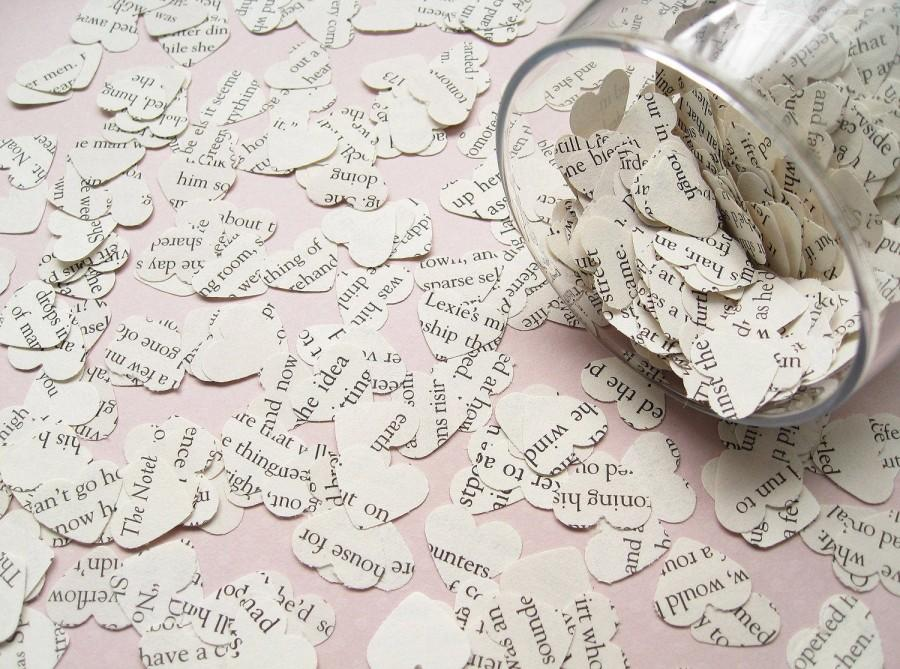 Mariage - Beauty and The Beast Book Confetti Hearts - Wedding Party Table Heart Decor