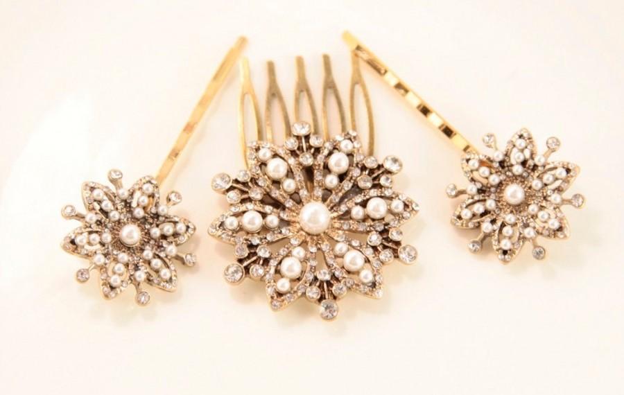 Свадьба - Snowflake Hair Comb Star Head Comb Pearl Hair Piece Bridal Headpiece Snowflake Hair Clip Antique Hair Comb Something Old Wedding Bride Gift