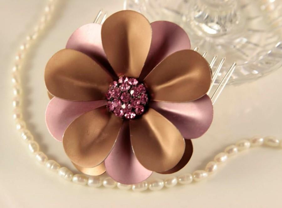 زفاف - Dusty Rose Pink Bridal Hair Comb Milk Chocolate Head Comb Taupe Headpiece Rhinestone Head Comb Golden Hair Piece Crystal Pink Wedding Comb