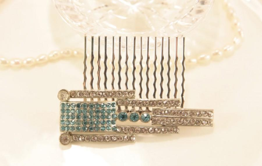 زفاف - Art Deco Wedding Headpiece Antique Hair Comb Aquamarine Bridal Jewelry 1920 Headpiece Crystal Hair Comb Blue Wedding Comb Wedding Hair Piece