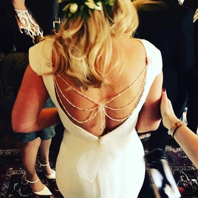 Mariage - Bridal Back Necklace - Backdrop Necklace - Back Jewellery - Boho Wedding - Bridal Backdrop - Wedding Back Necklace