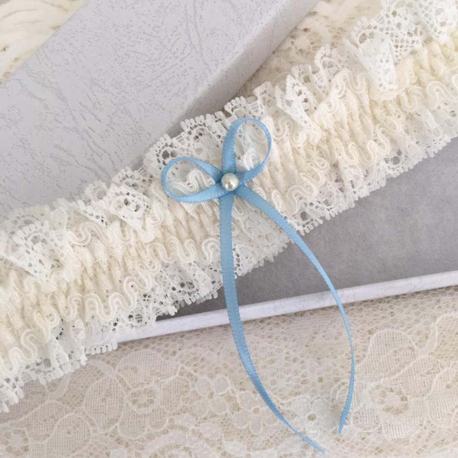 Wedding - Wedding garter - Blue & ivory, S-XL, Gift boxed.
