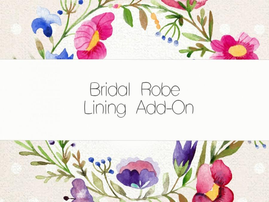Wedding - Lining Add-on for our Bridal cotton and lace robes WHITE COTTON robes ONLY