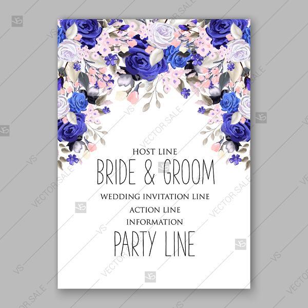 Wedding - Blueand white rose greenery wedding invitation vector template invitation download
