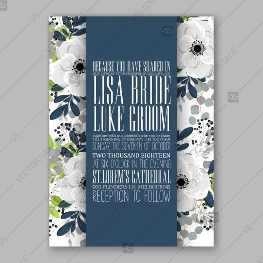 Wedding - Anemone Wedding invitation card in light gray and navу leaves
