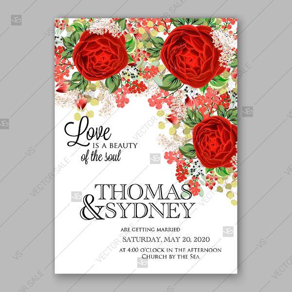 Wedding - Red rose wedding invitation vector floral background winter