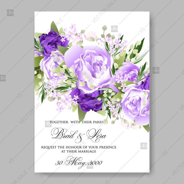 Wedding - Pink floral wedding invitation vector template Pink watercolor anemone mint greenery decoration bouquet