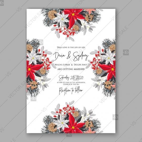 Wedding - Poinsettia Wedding Invitation card winter floral wreath Christmas Party invite vector download