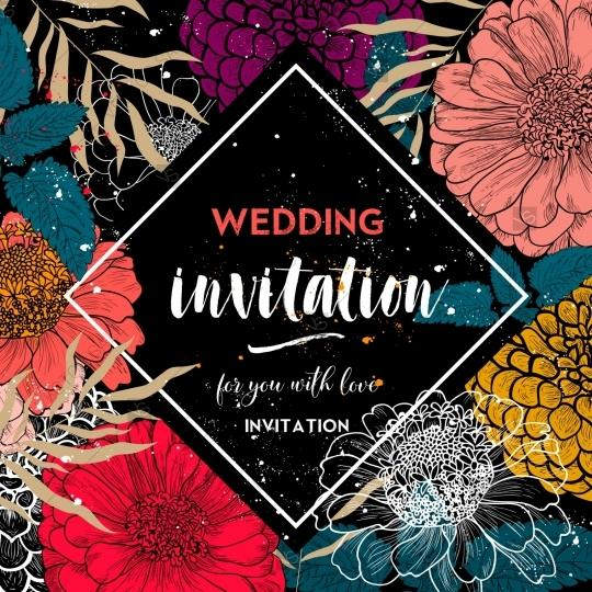 Mariage - Zinnia wedding invitation card template