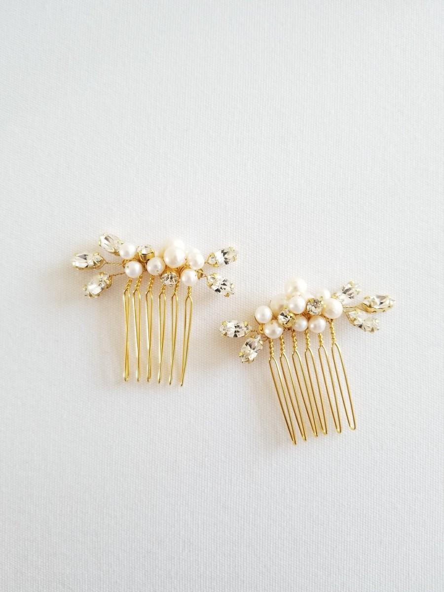 زفاف - Small Gold Wedding Hair Comb, Gold Freshwater Pearl Bridal Hair Comb, Gold Crystal Bridal Hair Accessory