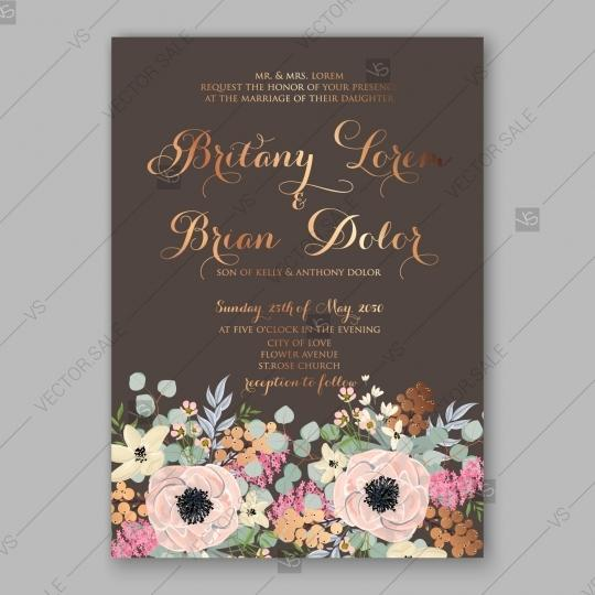زفاف - Anemone wedding invitation card printable template floral illustration