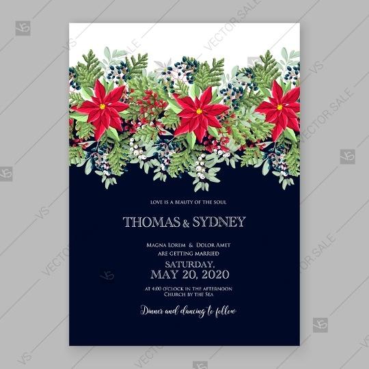 Wedding - Poinsettia wedding invitation red floral wreath vector card template