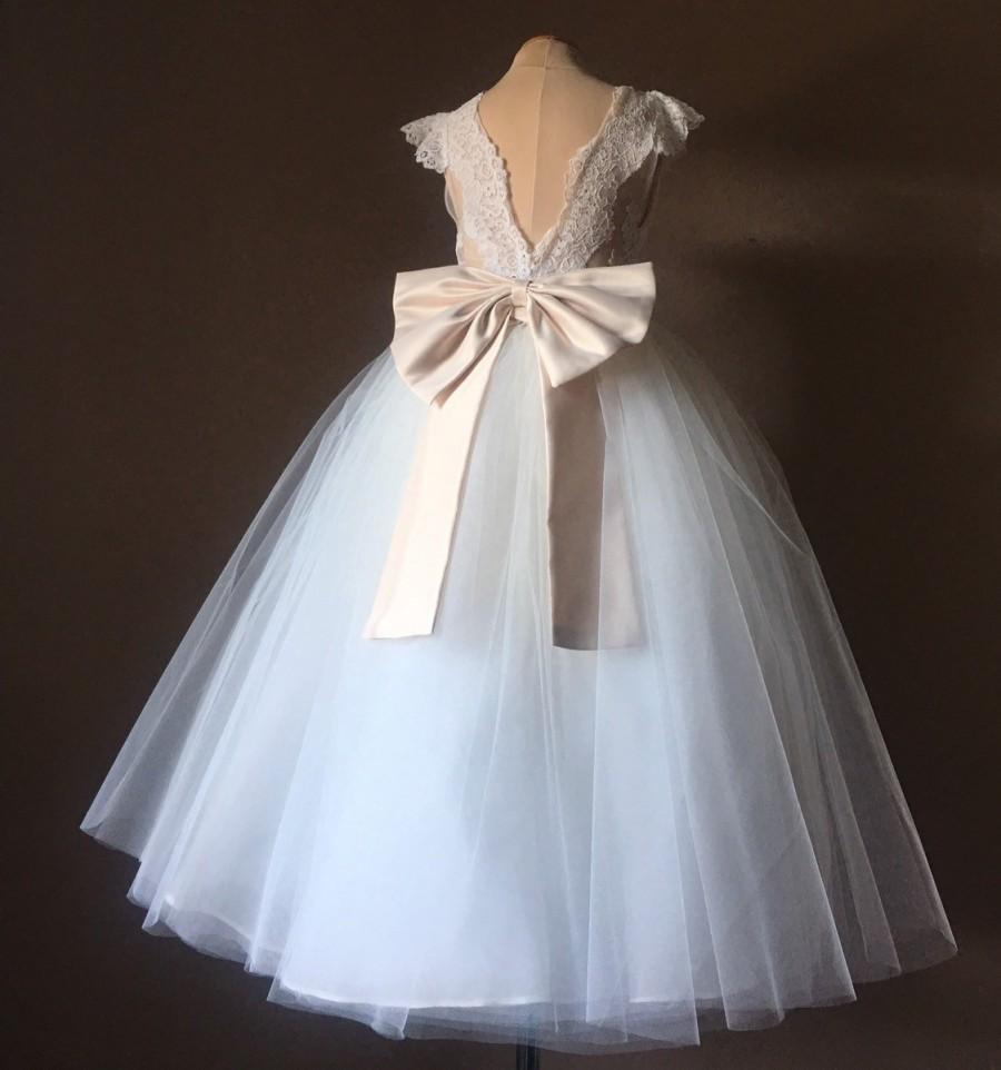 Mariage - ROSELYNN Ivory  Satin Tulle Flower Girl Dress Champagne Bow Dress Wedding Bridesmaid Dress