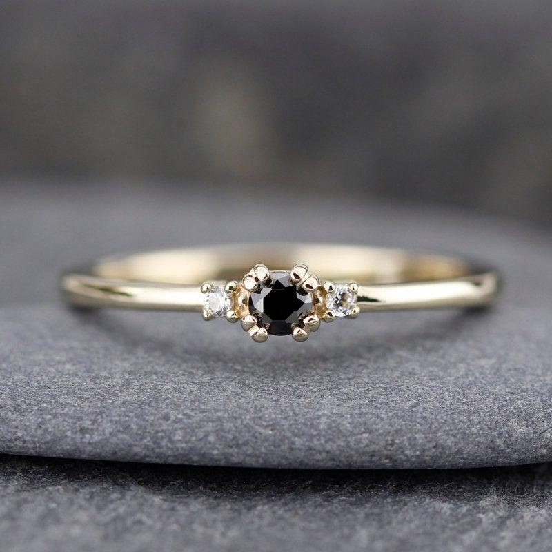 Hochzeit - diamond ring, black diamond ring, simple engagement ring, minimalist engagement ring, engagement ring, dainty, delicate engagement ring