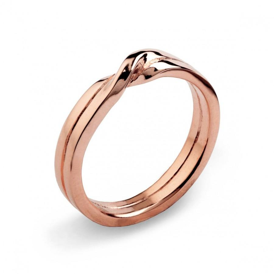 Mariage - LOVE KNOT Ring, Rose Gold Wedding Band, Unique Mens Wedding Band Rose Gold, Womens Wedding Band, His and Hers Wedding Ring Gold