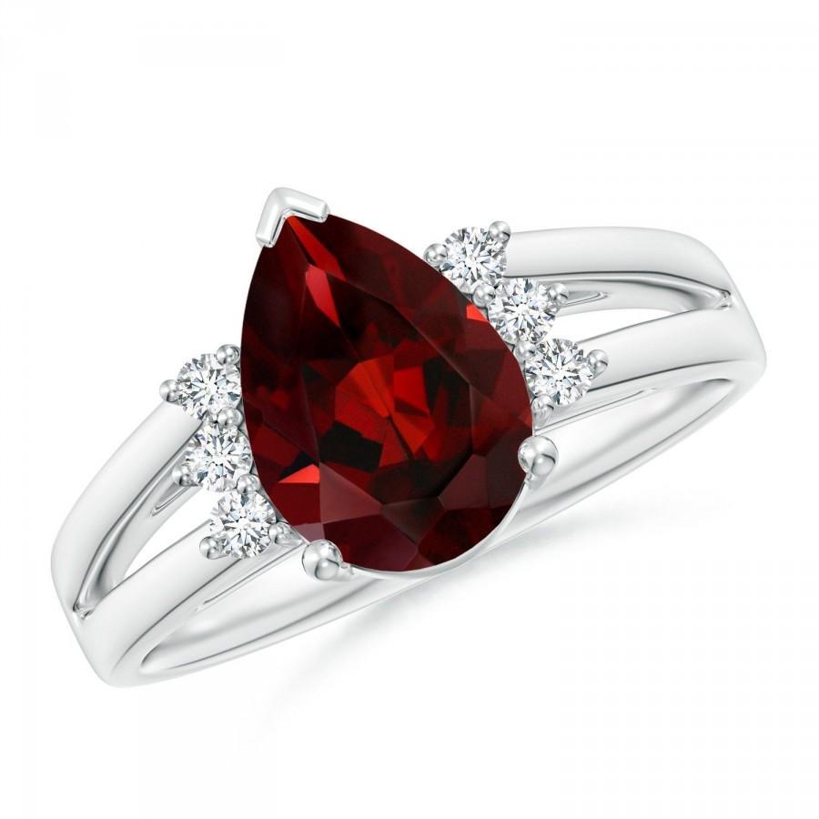 زفاف - Beautiful Garnet Ring for Her, 925 Sterling Silver Ring, January Birthstone Anniversary Ring, Birthday Gift