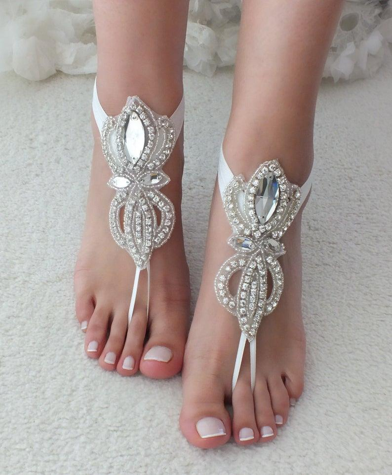 Wedding - EXPRESS SHIPPING Rhinestone barefoot sandals bridal anklet Beach wedding barefoot sandal foot accessories Bridal jewelry Bridesmaid gift