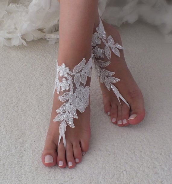 Wedding - 12 Color lace barefoot sandals wedding barefoot Flexible wrist lace sandals Beach wedding barefoot sandals Wedding sandals Bridal Gift
