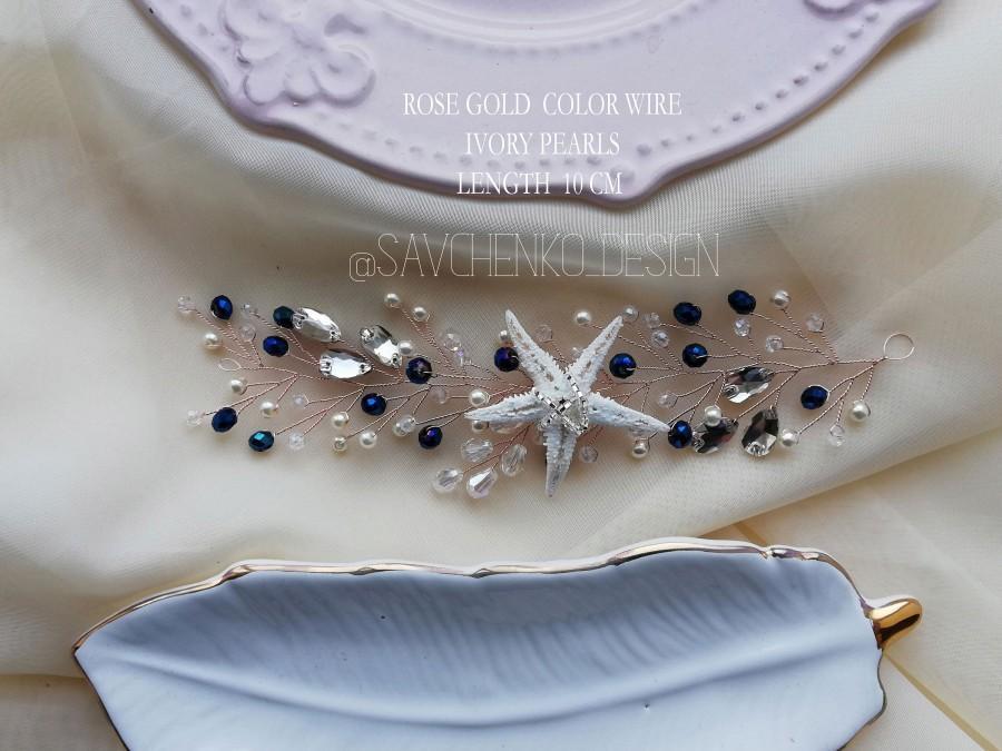 Свадьба - Navy blue Starfish Hair Vine Beach wedding seashell hair accessories mermaid headband adult stella marina capelli bridal shell hair vine