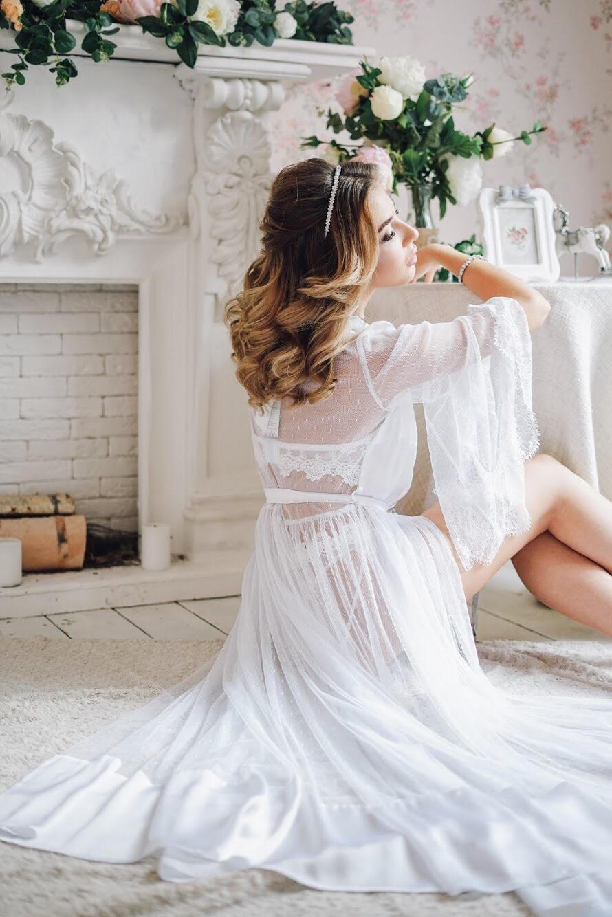 Wedding - See Through Dress, White Boudoir Dress, Wedding Kimono Robe, Lace Robe, Honeymoon Lingerie, Silk Robe, Lingerie Dress, Sheer Lingerie
