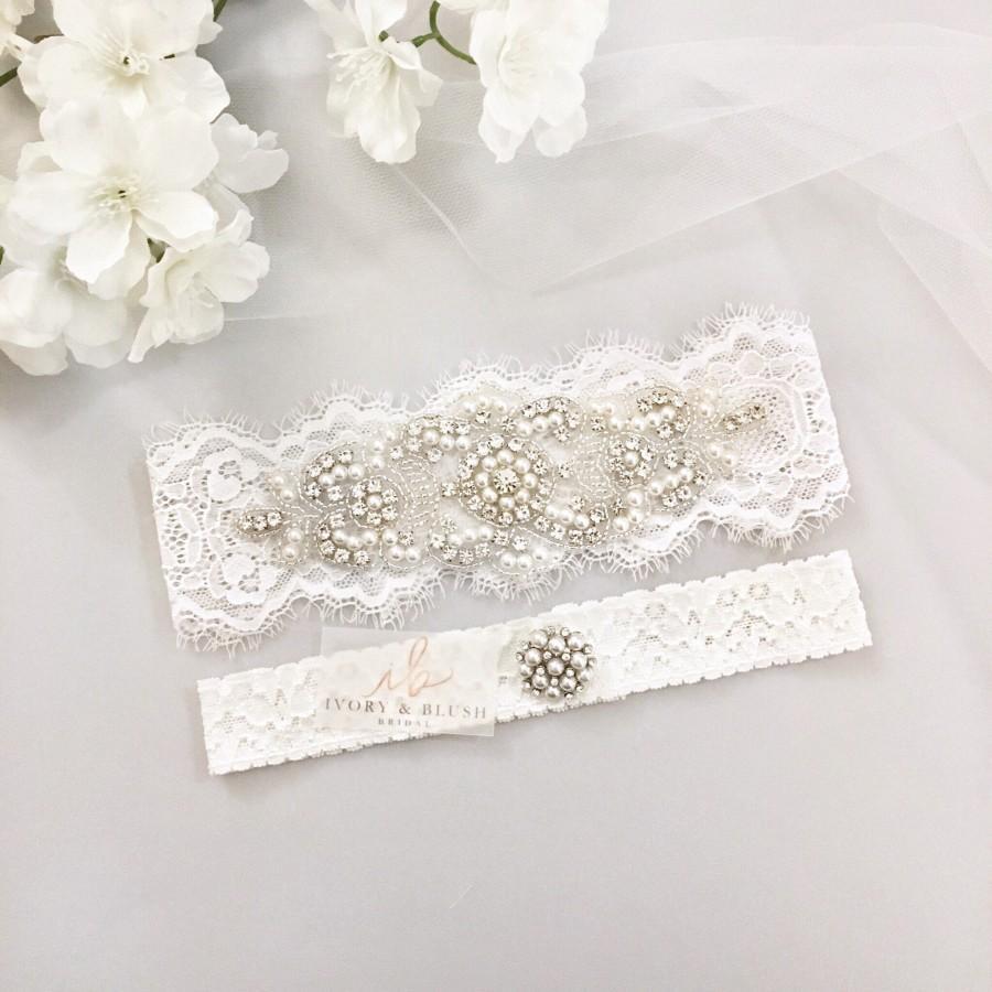 Wedding - LIGHT IVORY Wedding Garter - Wedding Garter Set Bridal Garter - Style #L0517
