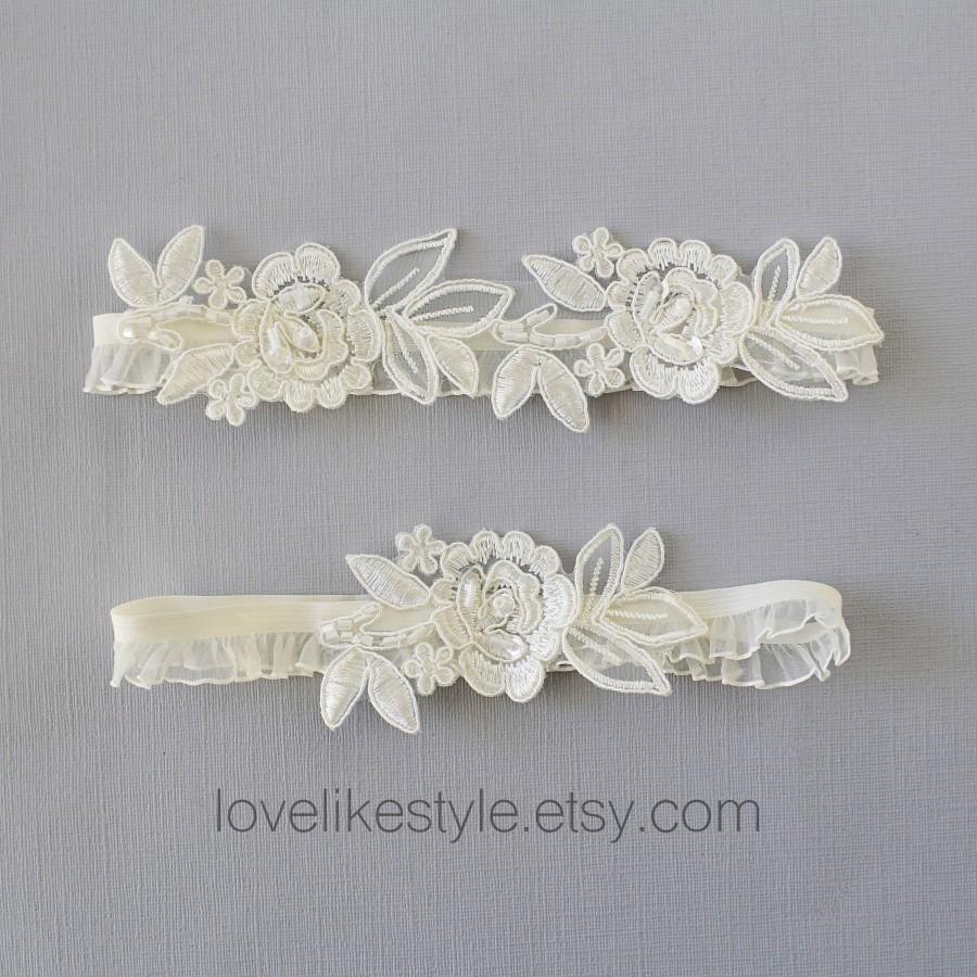 Wedding - Wedding Garter Set, Ivory Embroidery Flower with Ruffle Elastic Garter Set,Ivory Garter Set, Prom  Garter Belt / GT-34A