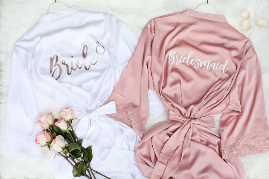 Wedding - Bridesmaid Robes With Lace, Personalized Bridal Party Getting Ready Robes, Free Monogram Robes For Wedding Party, Custom Satin Lace Robe