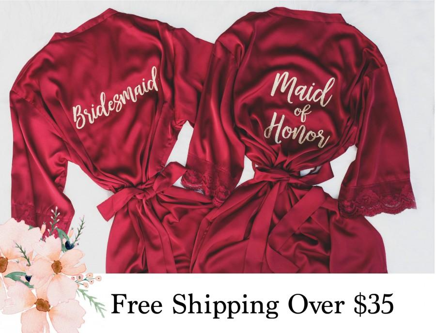 Wedding - Burgundy Bridesmaids Robes With Lace, Champagne Bride Robe, Getting Ready Wedding Outfits, Wedding Gifts, Robes for Bridesmaids, Solid Robes