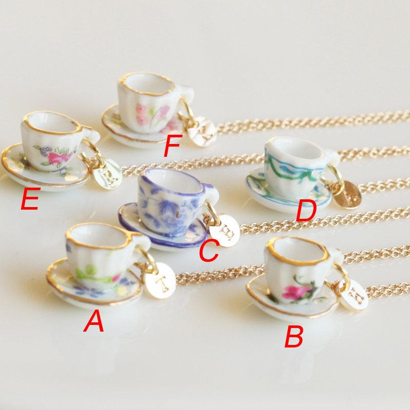 Mariage - Tea party cup necklace, personalized initial necklace, tiny tea cup necklace, cooking party jewelry,coffee cup necklace, bridesmaids jewelry