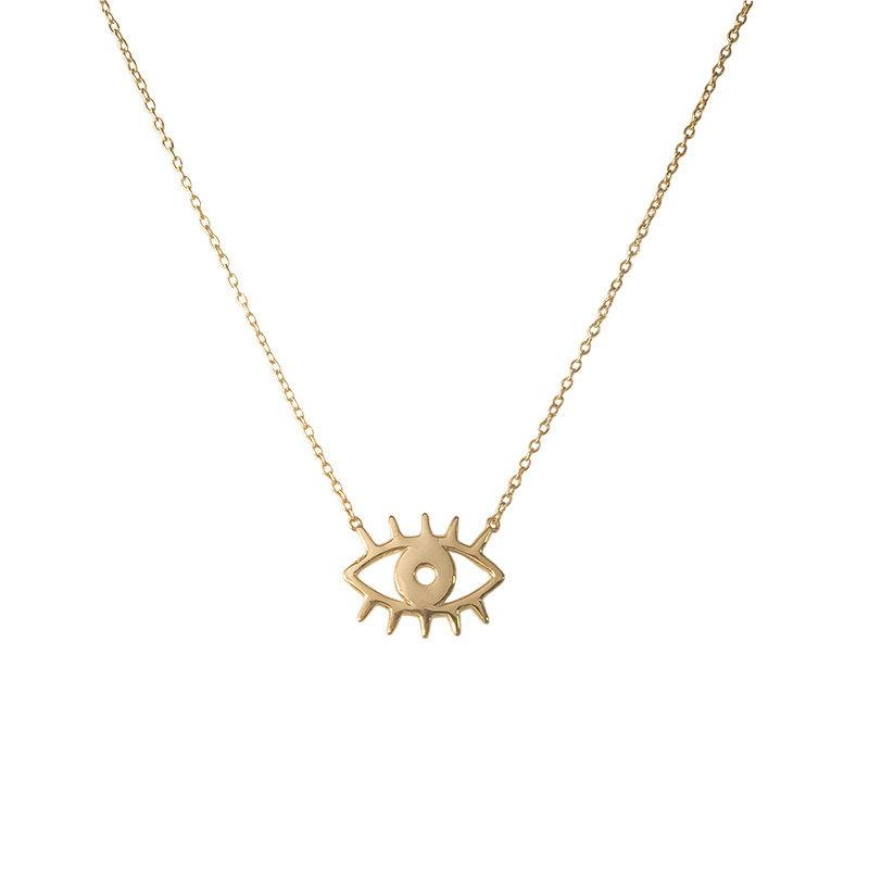 Свадьба - Evil eye necklace, 925 sterling silver and 18k gold plated silver , lucky charm necklace, talisman eye