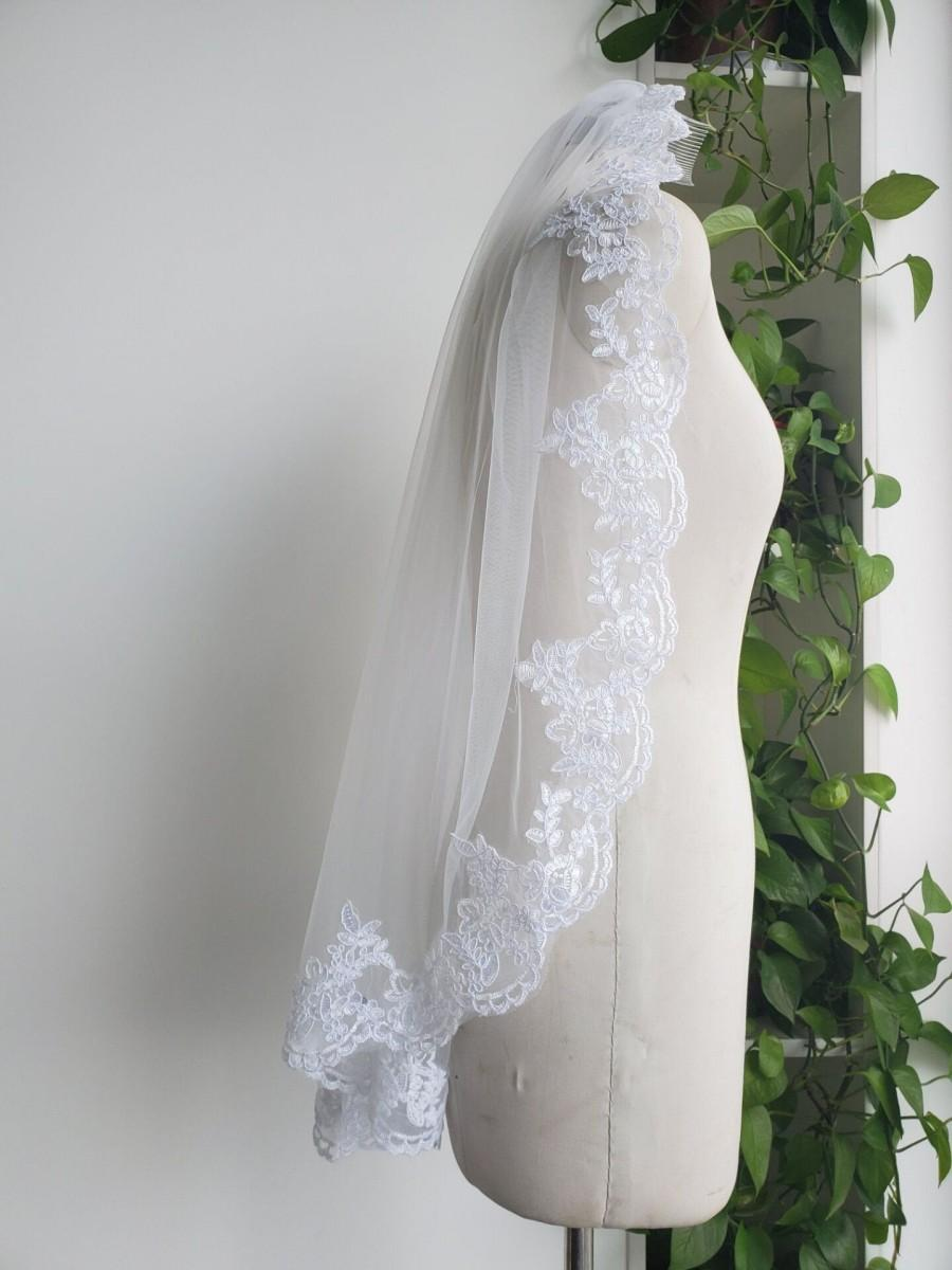 زفاف - Custom bride veil White or ivory 1T lace veil wedding lace veils &comb