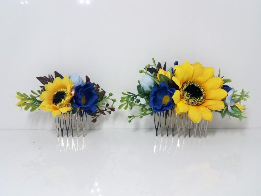 زفاف - Sunflower comb , Yellow blue Flower comb ,Bridal headband ,Flower hair wreath,Flower halo,Wildflowers crown ,Rustic wedding