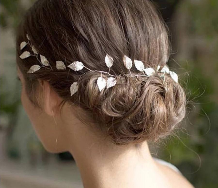 زفاف - Bridal leaf hair vine. Gold vine. Bridal headpiece