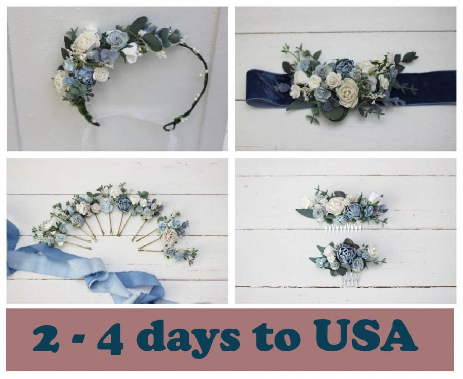 زفاف - Dusty blue white hair comb Flower hairpiece Hair pins Floral headpiece Bridal flowers Flower accessories Bridesmaid comb Pale blue belt