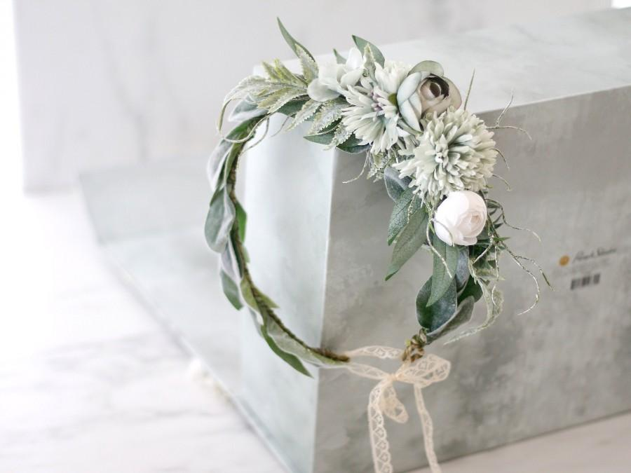 Свадьба - Eucalyptus flower crown for wedding, greenery hair crown