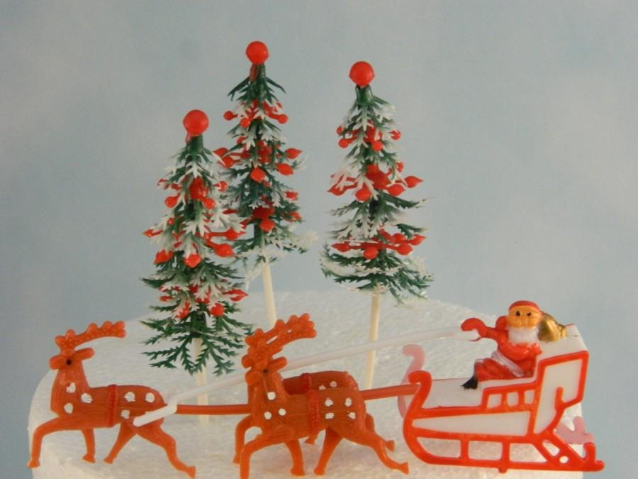Mariage - Vintage Santa with Reindeer and Christmas Trees Cake Topper, Christmas Topper