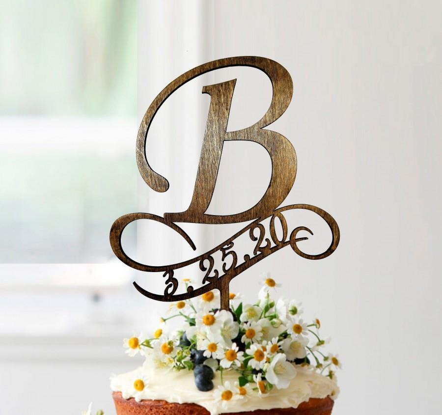 زفاف - b cake topper, wedding cake toppers, cake toppers for wedding, rustic cake toppers, initials cake topper, monogram cake topper b, #062