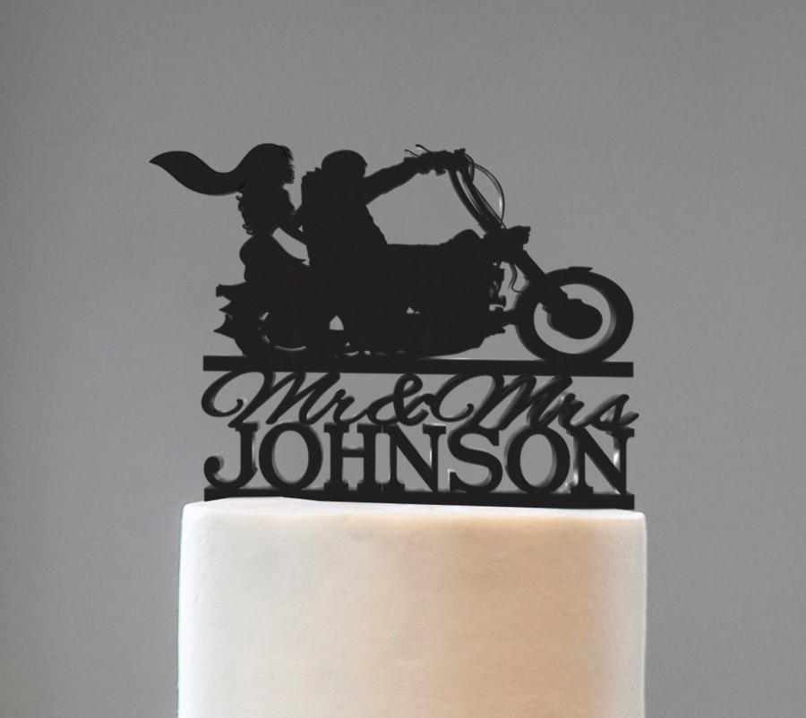 Mariage - Couple with Motorcycle Wedding Cake Topper