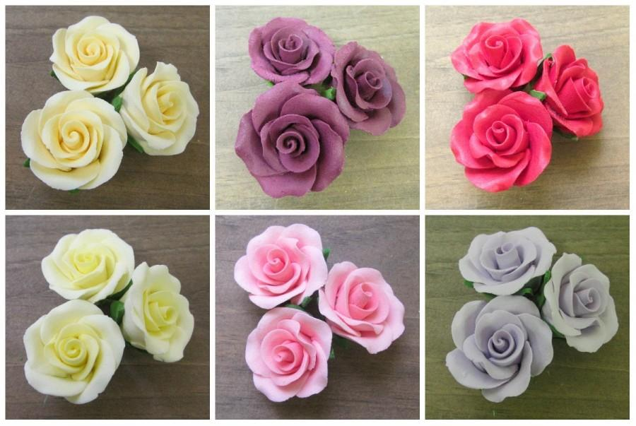 """Mariage - Set of 6 Small 1.25"""" Gumpaste Roses - Red Pink Burgundy Yellow Ivory or Lavender. Fondant Edible Wedding Cake Toppers :)"""