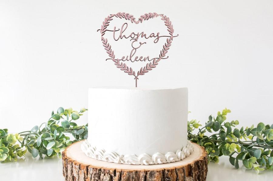 Mariage - Custom Mr and Mrs Cake Topper, Heart Cake Topper, Floral Cake Topper, Boho Cake Topper Wedding, Rustic Mr and Mrs Cake Topper, Wood