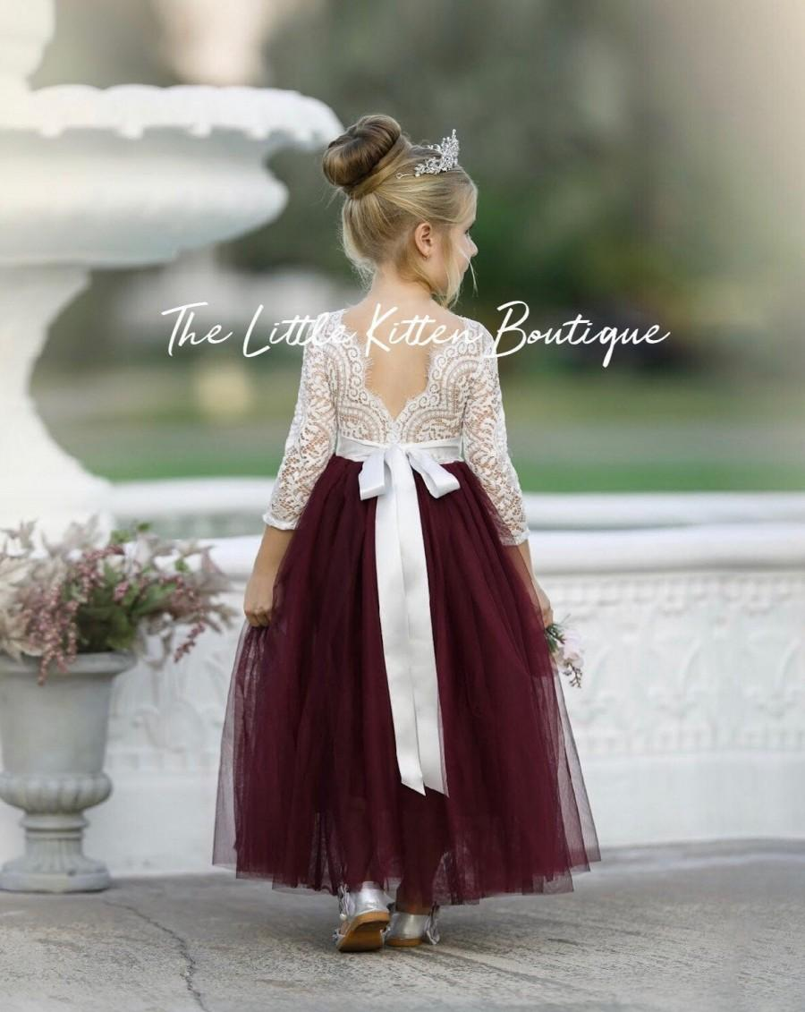 Mariage - tulle flower girl dress, rustic lace flower girl dresses, long sleeve flower girl dresses, boho flower girl dress, ivory flower girl dress