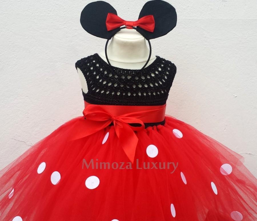 Mariage - Mickey mouse birthday dress, red mickey mouse outfit, 1st birthday tutu dress, mickey mouse themed party, disney princess dress, mickey ears