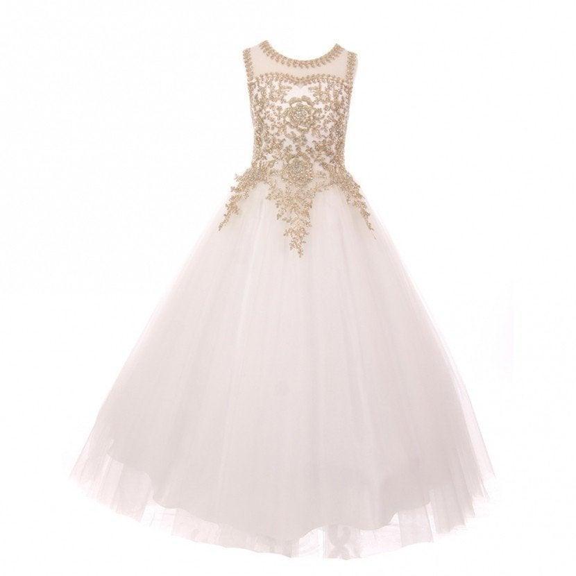 Mariage - Flower Girl Dress,FREE SHIPPING,White Dress,Full length Blush Dress,Crystal Accent Dress,Flower Girl,Wedding ,Quince,Party Dress,Sweet 16