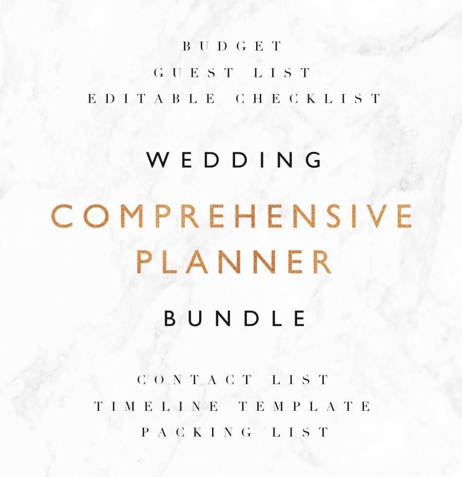 Hochzeit - SAVE 35% Wedding Planning Bundle - Editable Wedding Checklist, Budget Tracker, Guest List, Contact List, Timeline Template, Packing List