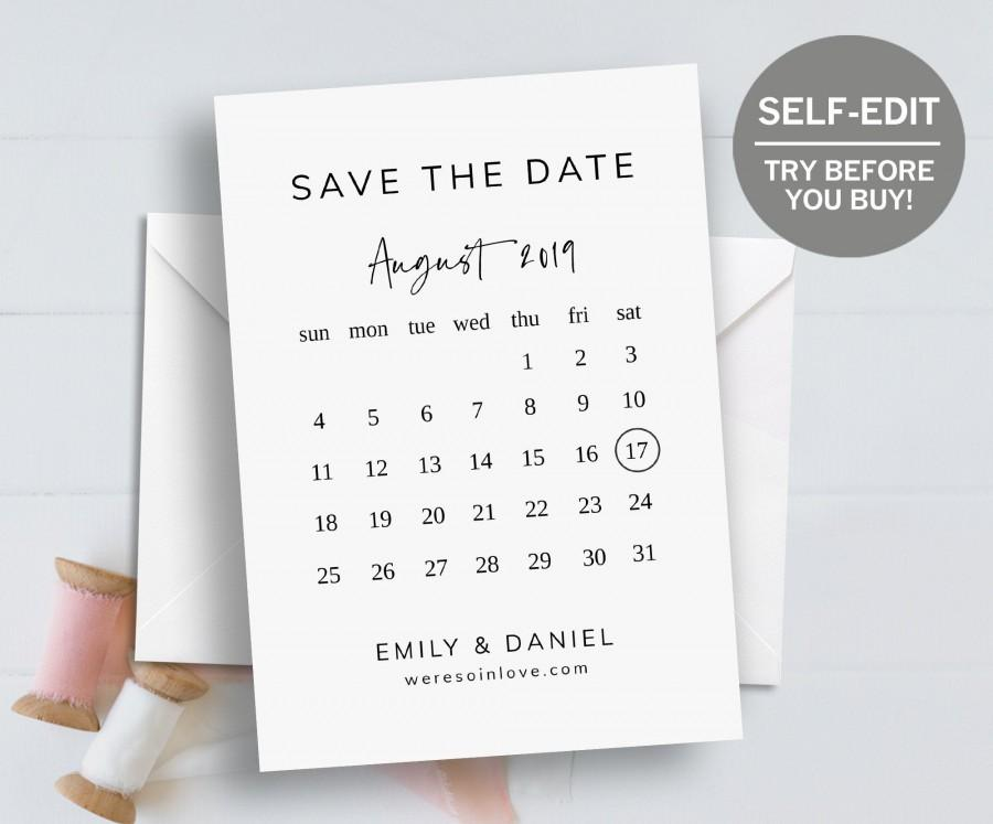 Hochzeit - Save The Date Template, Calendar Template, Save The Date Cards, 100% EDITABLE, Wedding Announcement, INSTANT DOWNLOAD, Minimalist, Printable