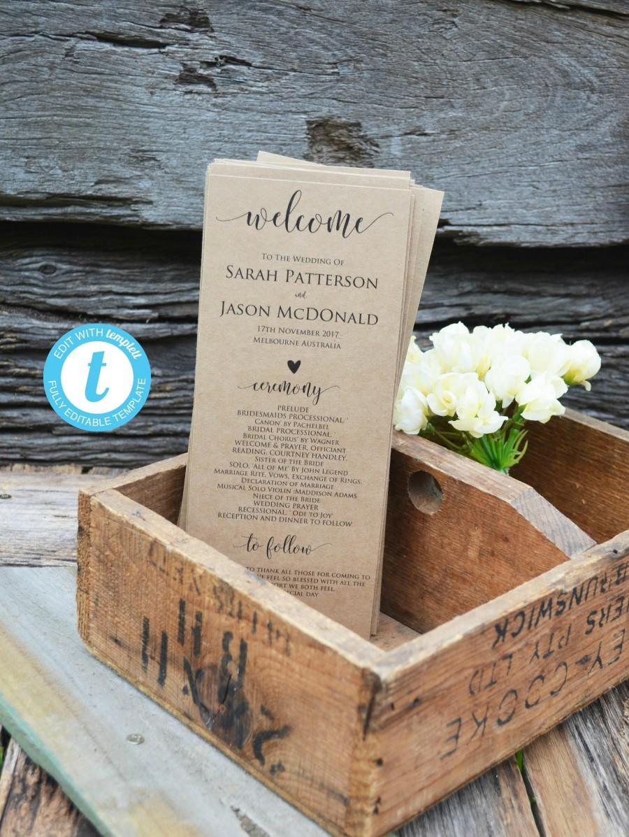 Hochzeit - Wedding Program Printable, Rustic Wedding Program Template, Order of Events Program,  Edit with TEMPLETT, WLP-SOU 269