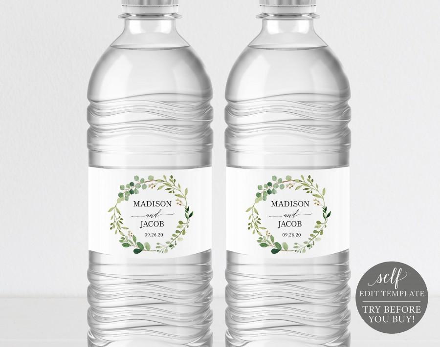 Mariage - Greenery Wedding Water Bottle Label Template, Printable Water Bottle Label, Editable Water Bottle Label, Instant Download