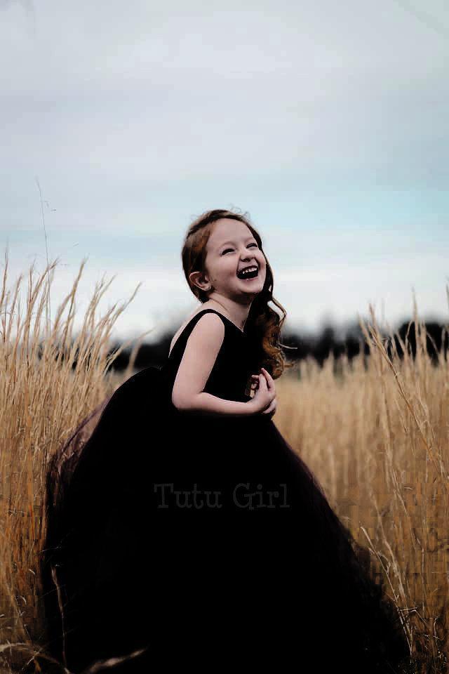 Mariage - Black Flower Girl Dress, Black Tulle Flower Girl Dress, Black Tutu Dress, Birthday Girl Dress Wedding Party Toddler Formal Dress