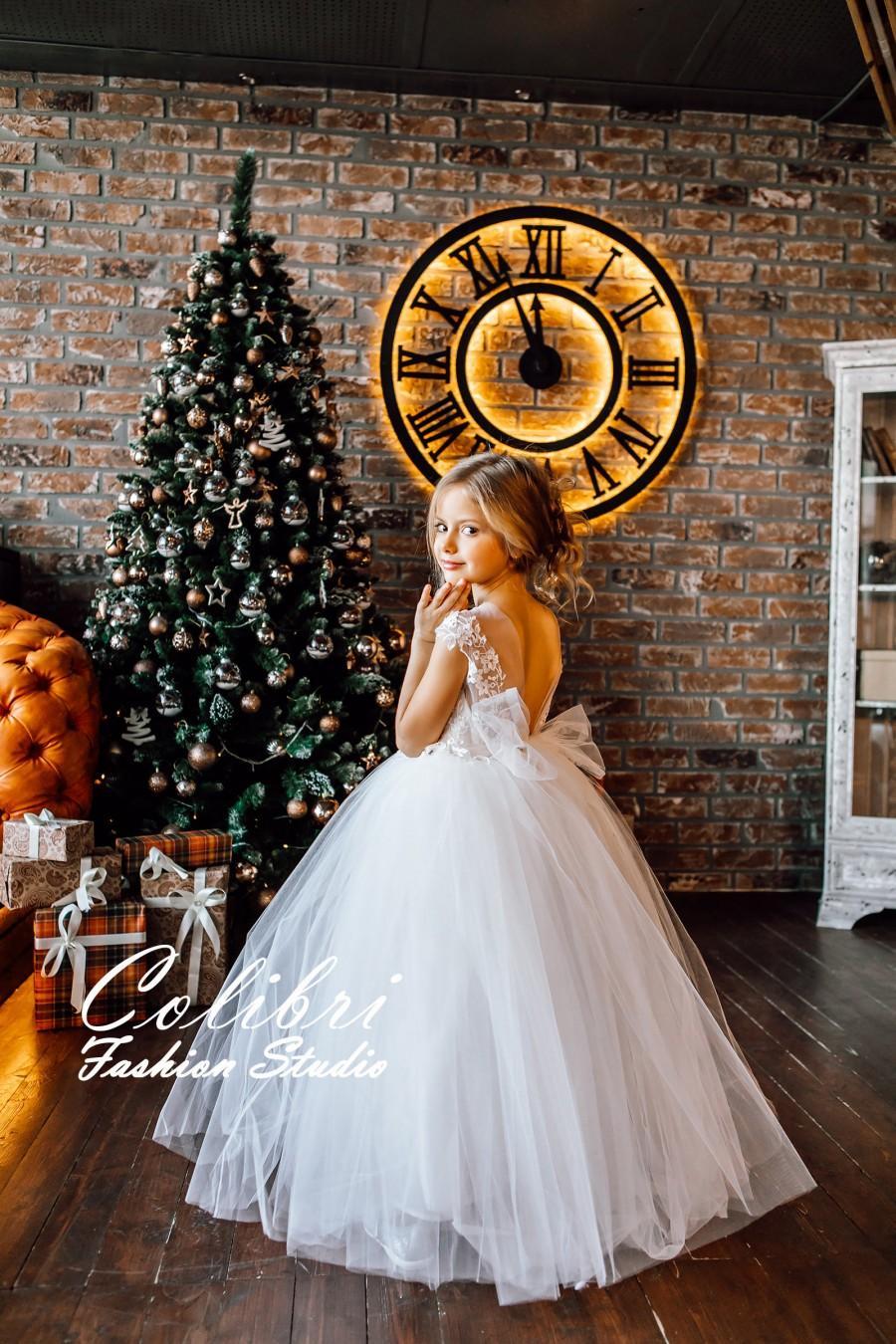 Mariage - Ivory Flower Girl Dress, First Communion Dress, Tutu Flower Girl Dress, Lace Girl Dress, Tulle Girl Dress, White Flower Girl Dress