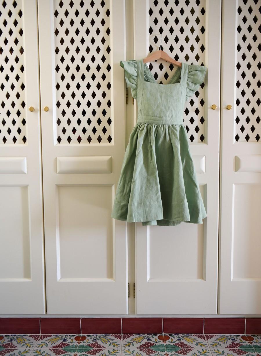 زفاف - Flower Girl Dress, Linen Dress, Pinafore Dress, Easter Dress, Linen Apron Dress, Ruffle Dress, Jumper Dress, Linen Girls Dress